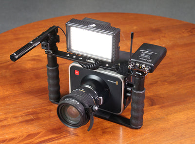 ALZO BMCC 4K Cinema Camera Transformer Rig on table