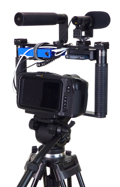 ALZO BMCC 4K Cinema Camera Transformer Rig on tripod