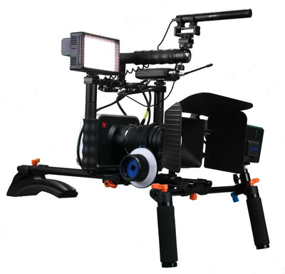 ALZO Cinema Camera Transformer Rig Full Gear Kit with Blackmagic camera and gear on shoulder rig