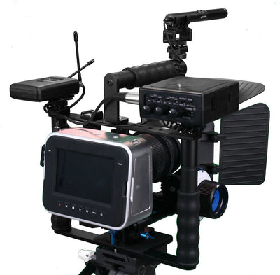 ALZO Cinema Camera Transformer Rig Full Gear Kit, Cage Bracket with Shoe Mounts and Hand Grips - Factory Refurbished
