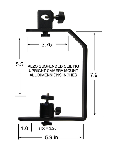 ALZO Suspended Drop Ceiling Upright Camera Mount dimension diagram