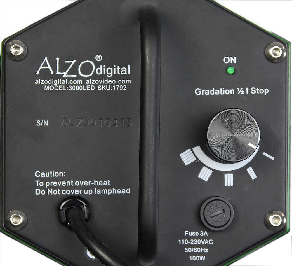 Alzo 3200 High Power Led Video Light With 8 Inch Barndoors Flood Floodlight Lamp Black Case 1m Cable Wire Back Panel