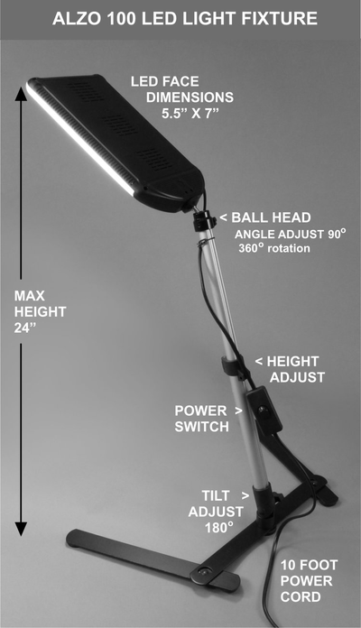 ALZO 100 LED Light with Table Stand for Product Photography diagram