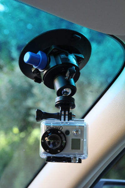 ALZO Suction Mount with Mini Ball Head with GoPro camera