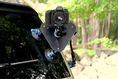 ALZO Three Point Car Camera Mount with Triangle Plate and 3 Suction Mounts in action on rear window