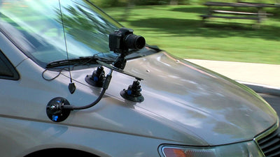 ALZO Three Point Car Camera Mount with Triangle Plate and 3 Suction Mounts on car hood