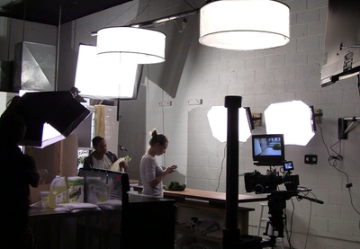 ALZO Drum Overhead Light used in TV studio demo kitchen