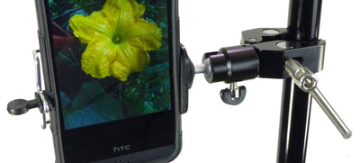 ALZO Smartphone Mount with Ball Head, Clamp and Bluetooth Shutter Release mounted