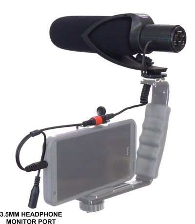 Comica CVN-V30 Shotgun Microphone with Foam on smartphone and rig