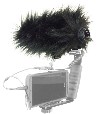 Comica CVN-V30 Shotgun Microphone with dead cat on smartphone