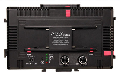 ALZO 795 Bi-Color Adjustable Extra Bright LED On-Camera Video Light Power Kit back