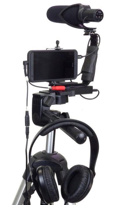 ALZO Smartphone Shotgun Microphone with Breakout Cord on tripod