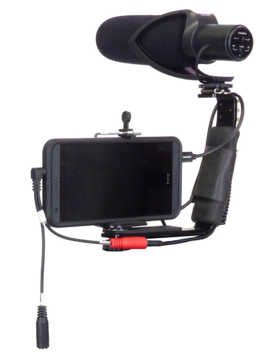 Smartphone Streaming Video Rig with COMICA CVM-V30 Shotgun Microphone and Breakout Cord on bracket