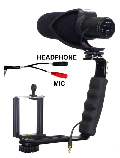 Smartphone Streaming Video Rig with COMICA CVM-V30 Shotgun Microphone and Breakout Cord