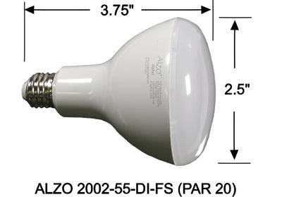 ALZO 6W Dimmable Full Spectrum LED Flood Light Bulb PAR 20 5500K dimensions