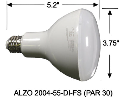 ALZO 12W Joyous Light® Dimmable Full Spectrum LED Flood Light Bulb PAR 30 5500K dimension diagram
