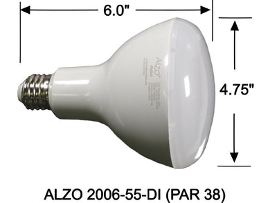 ALZO 18W Dimmable LED Flood Light Bulb PAR 38 5500K dimension diagram