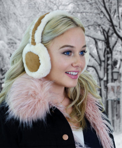 Bluetooth Earmuff Headphones Fashion Accessory cream-caramel