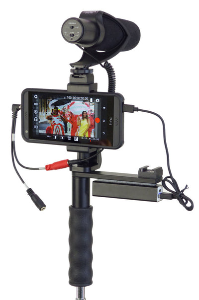 ALZO Smartphone Video Handgrip Pro Rig with Shoe Mounts and microphone