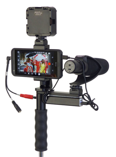 ALZO Smartphone Video Handgrip Pro Rig with Shoe Mounts and LED light