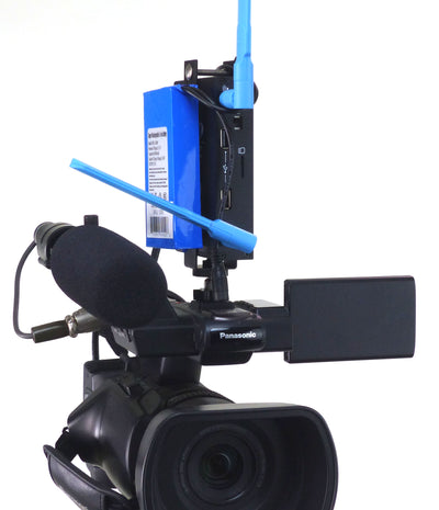 ALZO Newtek Connect Spark Mount with Li-ion Rechargeable Battery on camcorder