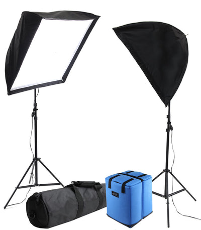 ALZO 200 CFL Umbrella Softbox 2 Light Kit 5500K with Cases and Stands