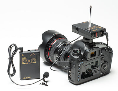 AZDEN WLX-PRO+i Wireless Mono Lavalier Microphone Kit on camera