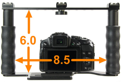 ALZO Transformer DSLR Rig, Camera Cage Bracket with Shoe Mounts and Hand Grips - Factory Refurbished