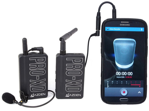 AZDEN Digital Wireless Microphone Kit PRO-XD 2.4 GHZ with Smartphone Adapter Cord