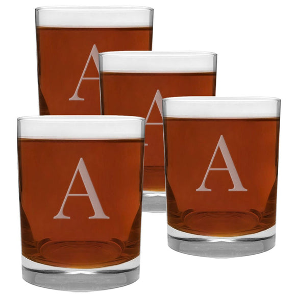 4 Piece Monogrammed Rocks Glass Set | Classic Letter | 13.5 Ounce Whiskey Glasses