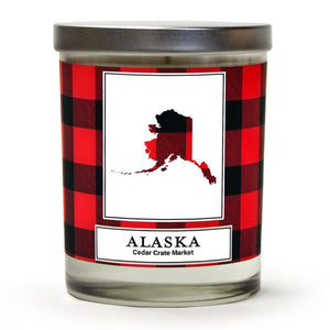 Alaska Buffalo Plaid State Candle | Fraser Fir, Pine Needle, Cedarwood | 100% Soy Wax Candle