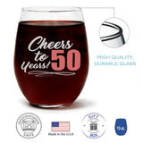 """Cheers to 50 Years!"" Wine Glass and ""50 Never Looked So Good"" Citrus Peach Candle Gift Set"