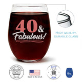 """40 & Fabulous"" Wine Glass and ""Forty Never Looked So Good"" Spiced Tobacco Flower Candle Gift Set"