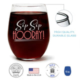 Sip Sip Hooray | 15oz Stemless Wine Glass