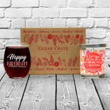 """Happy Birthday!"" Wine Glass and ""I Love You More Than My Sibling Does - Your Favorite"" Wild Huckleberry Candle Gift Set"