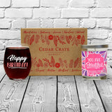 """Happy Birthday!"" Wine Glass and ""You Are Beautiful"" Lavender and Lemongrass Candle Gift Set"
