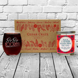 """Sip Sip Hooray!"" Wine Glass and ""You're The Friend Everyone Wishes They Had"" Orange Zest Candle Gift Set"
