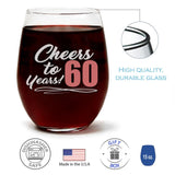"""Cheers to 60 Years!"" Wine Glass and ""Sixty Never Looked So Good"" Caribbean Retreat Candle Gift Set"