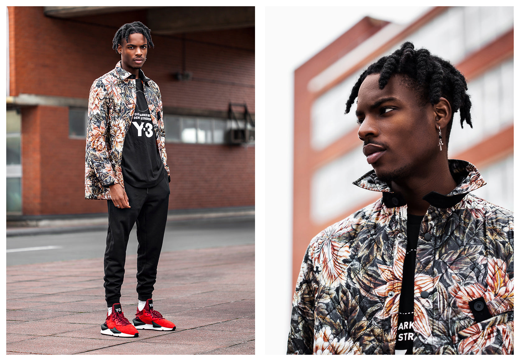 Creative Shot of Model wearing Y-3 outfit featuring Floral jacket and Red 'Kaiwa' Trainers
