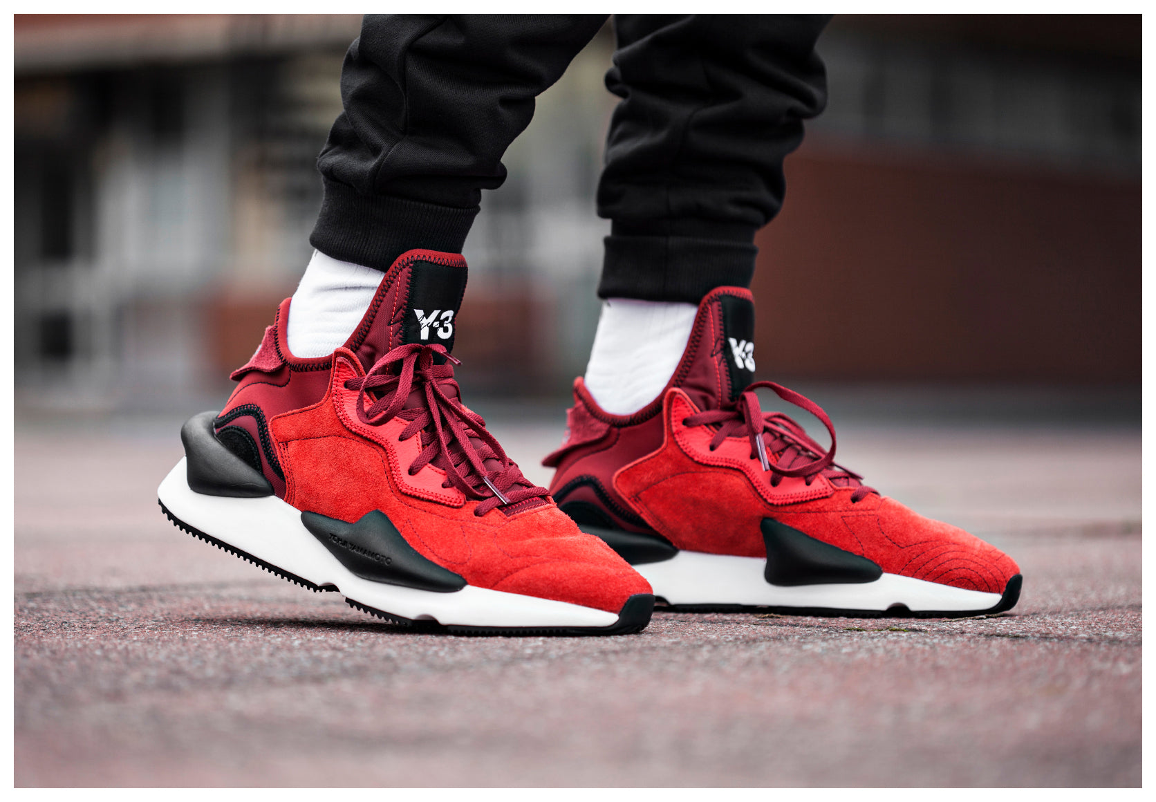 Close up detailed shot of model wearing Red Y-3 Kaiwa Trainers