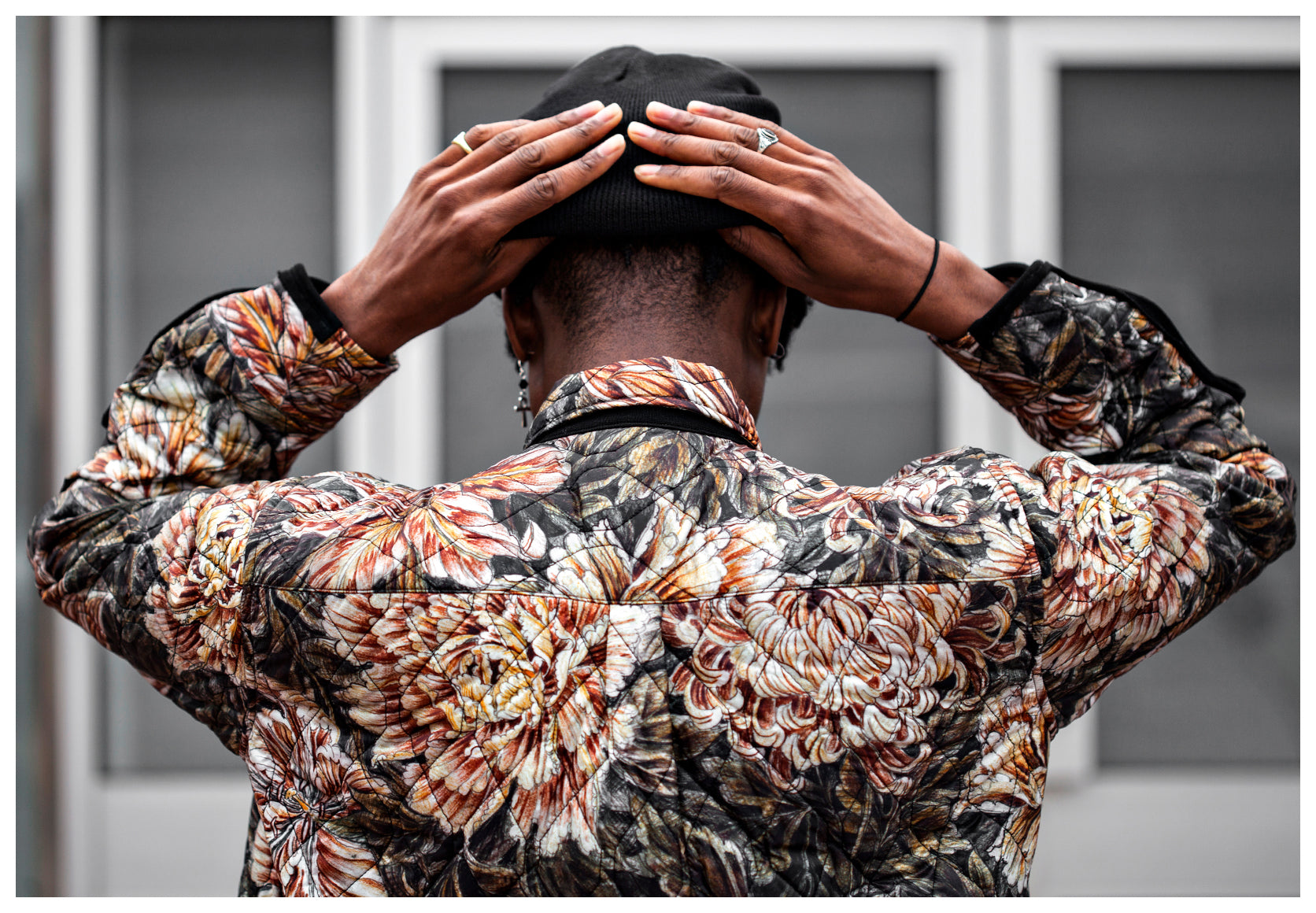 Creative Shot of a model and the back of Y-3 Floral jacket