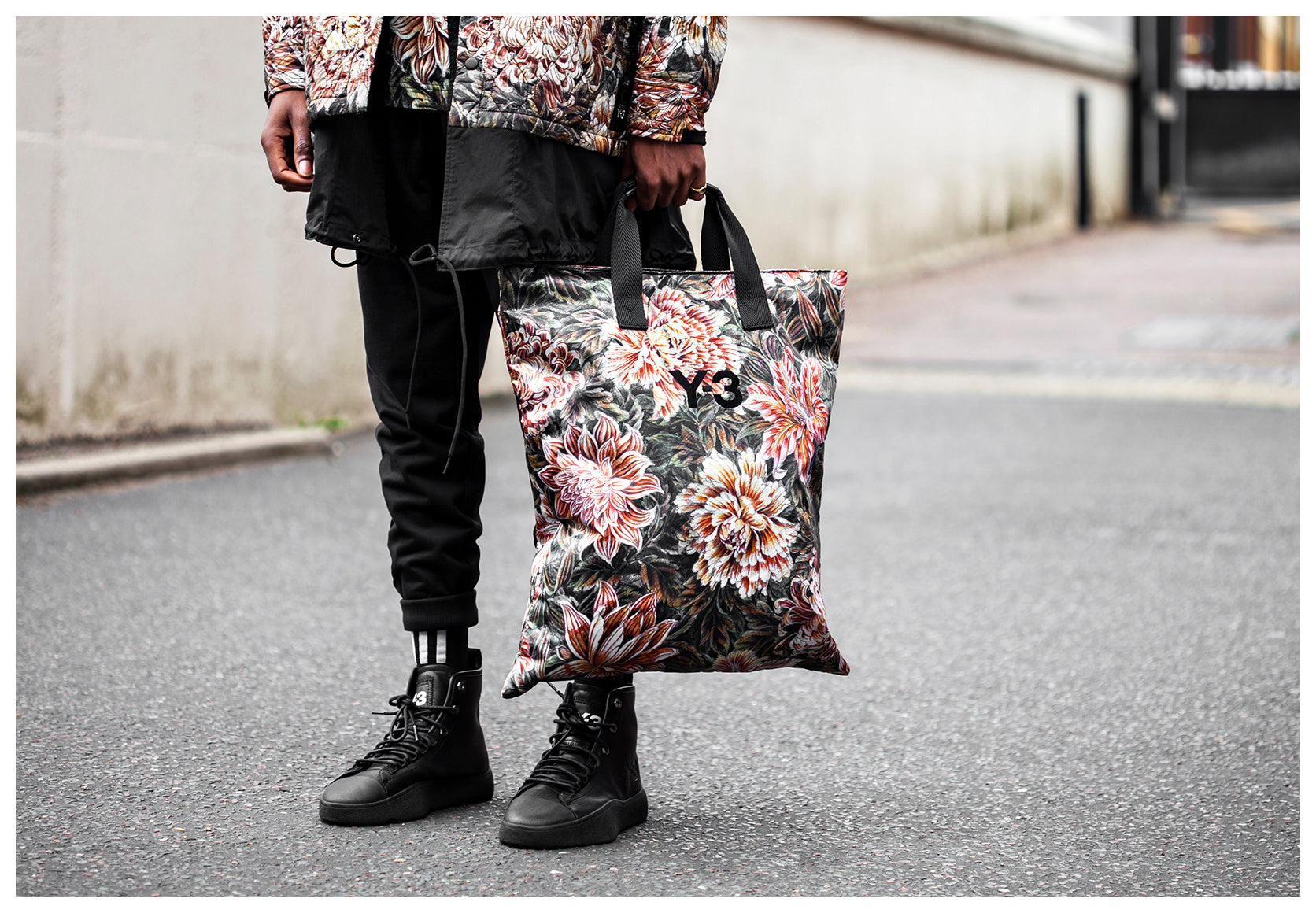 Close up detailed shot of the Floral Y-3 Tote Bag