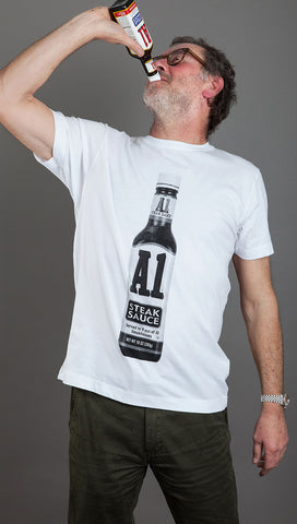 1001 Pieces Of Shit 'A1 Steak Sauce' Tee - White