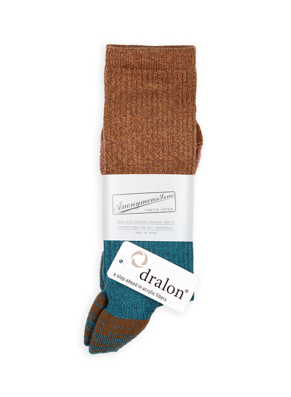 anonymous ism colourblock sock brown torquoise aw 2020