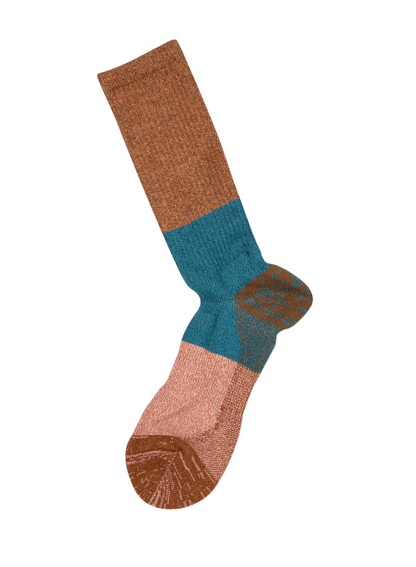 Colourblock Sock - Brown/Torquoise