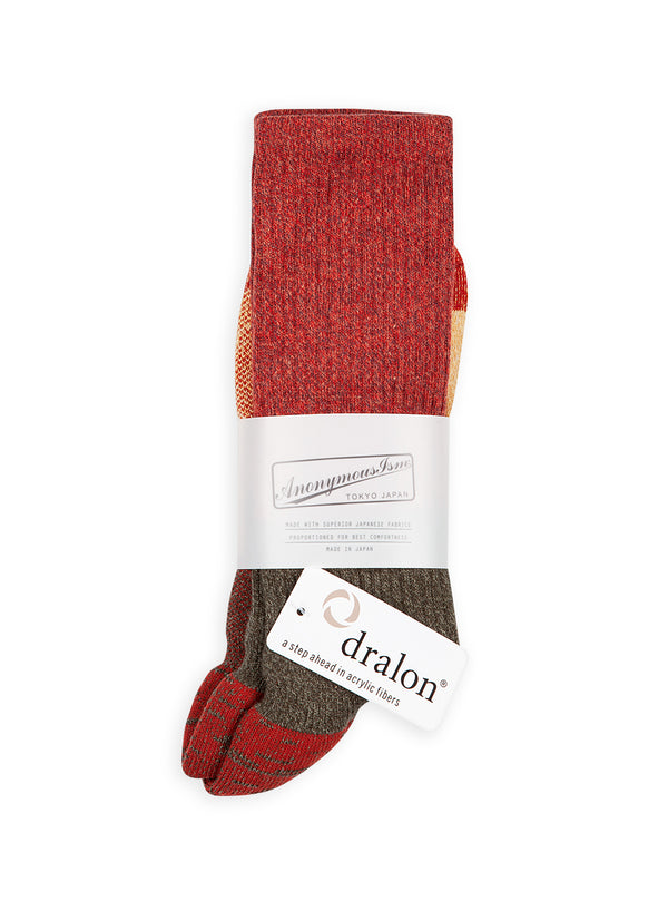 anonymous ism colourblock sock red green beige aw 2020