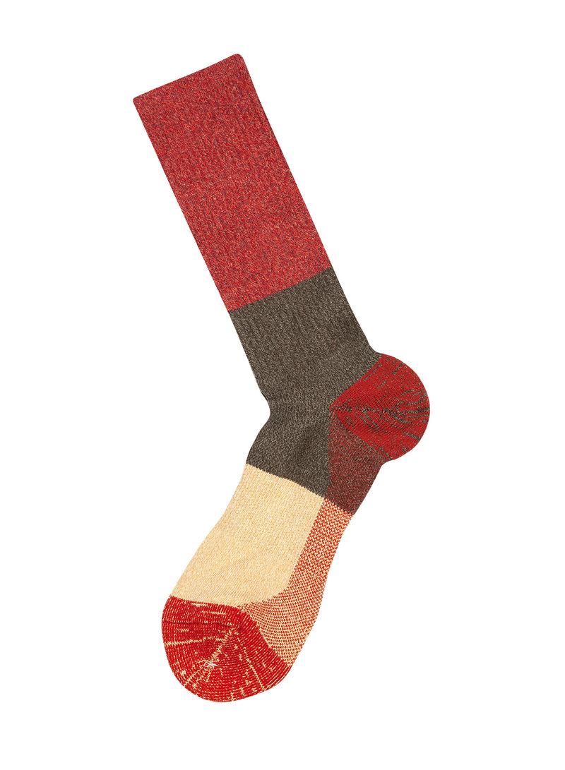 Colourblock Sock - Red/Green/Beige