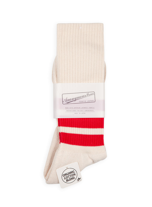 anonymous ism organic cotton 3 stripe sock beige red aw 2020