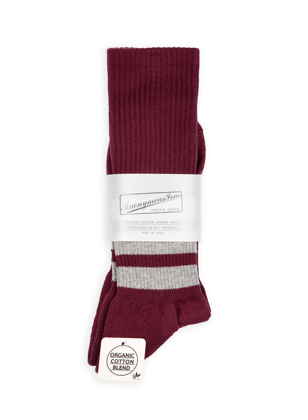 anonymous ism organic cotton 3 stripe sock burgundy grey aw 2020