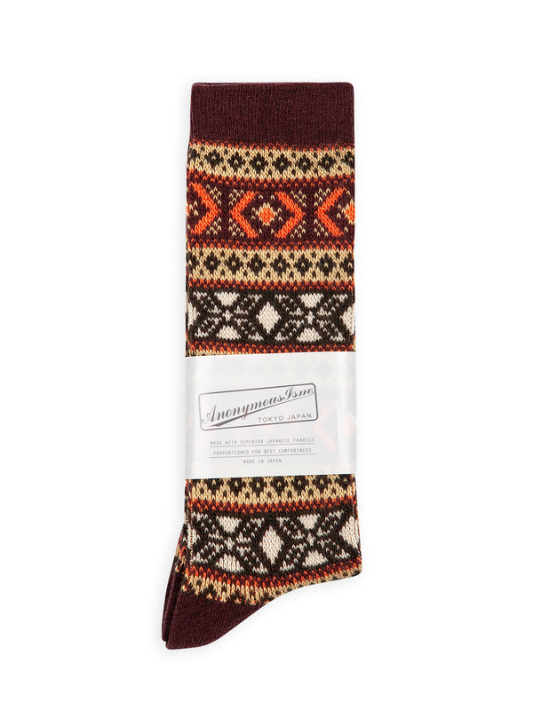anonymous ism wool jacquard sock burgundy multi aw 2020